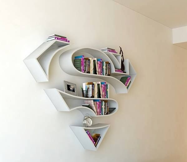 Superman book shelf. comic decor