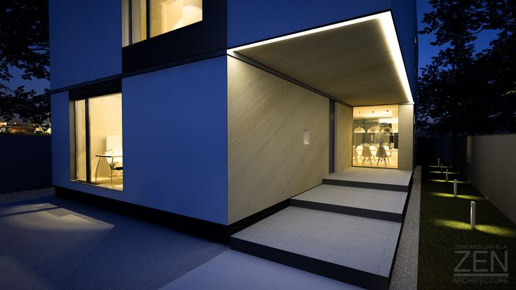architecture, house, home, night, rendering, windows, wood, concrete, design, Zen-Architecture, minimalism, simplicity, simple