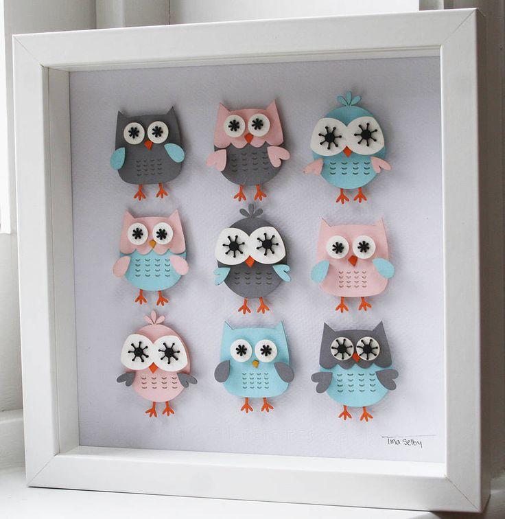 three dimensional owl artwork by tiny designs   notonthehighstreet.com