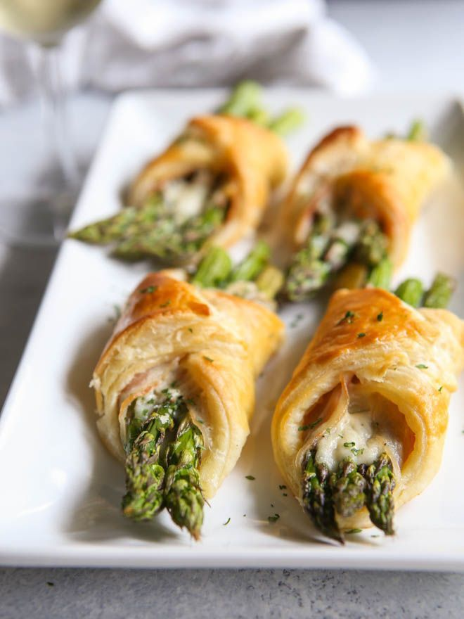 I love these little bundles of springtime— asparagus, pancetta, and parmesan cheese wrapped in flaky puff pastry.
