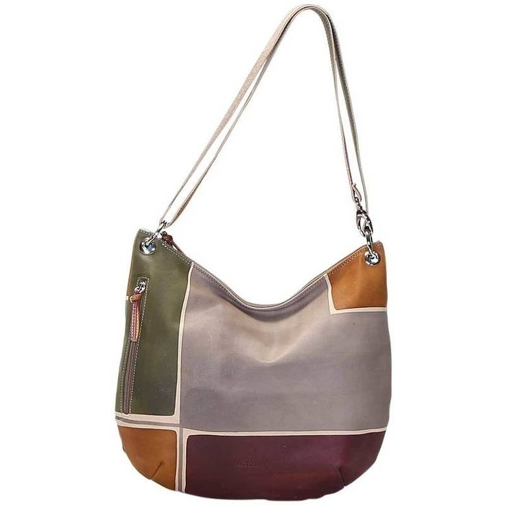 Natural leather handbag, handpainted. Morbid shape, with external pocket, inner pocket and zip fastener, lining inside, practical and spacious, it's suitable for any occasion. All Acquerello handbags can be purchased with matching shoes, wallet, belt and other accessories. Colors grey, green, yellow and dark violetand geometrical pattern.