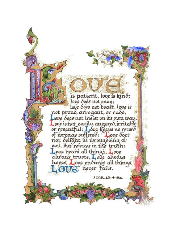 Illuminated Calligraphy Artist Print Love Is 2010 by angelworx