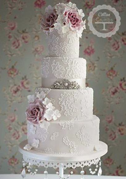 embroidered lace wedding cake white icing girly vintage wedding lace roses and bling found it 14011