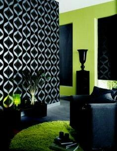 Black and green interior