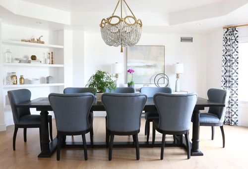 Home Design Ideas With Blue Upholstered Dining Chairs