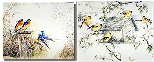 Bluebird House Bird And Gold Finches Wild Birds Two Set W...…
