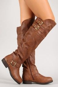 Multi Buckle Knee High Riding Boot - Need one in brown and black please.