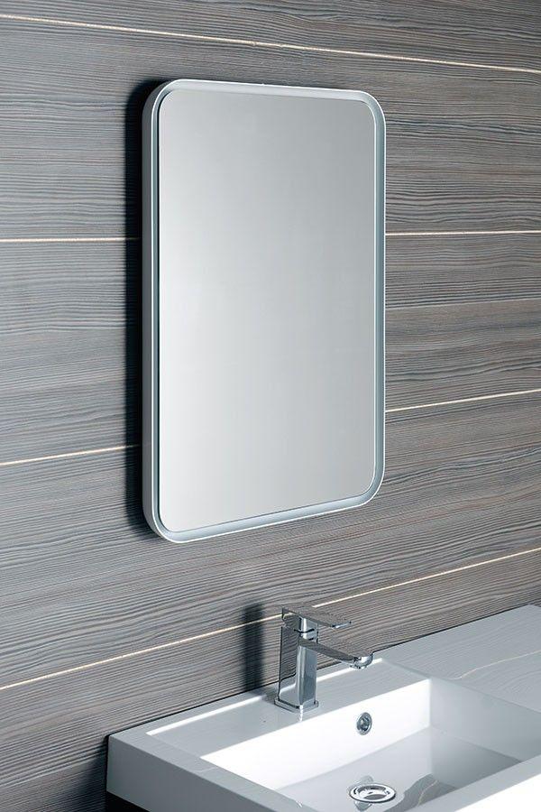Podsvícené zrcadlo FLOAT s LED osvětlením bílá zaoblené 50 x 70 cm