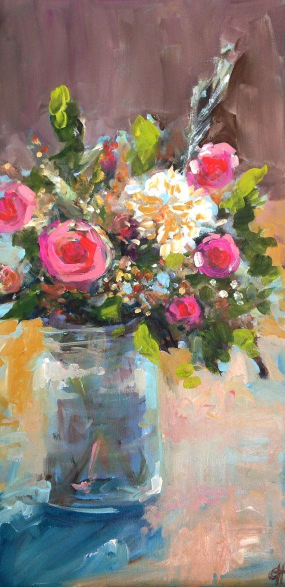 Top 25 best acrylic painting flowers ideas on pinterest for Floral acrylic paintings