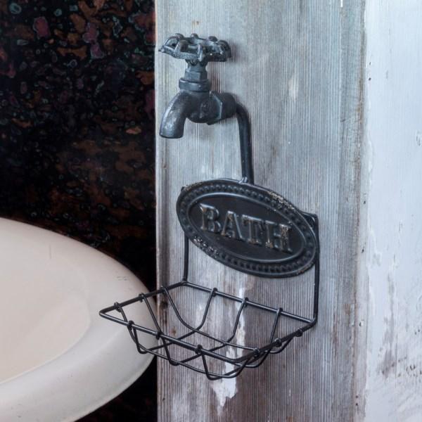 Country//Primitive//Farmhouse//Cottage Cast Iron Water Faucet Soap Dish Holder