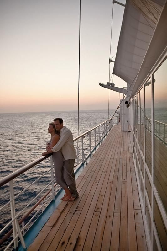Sunset views on a small-ship honeymoon cruise in the Caribbean