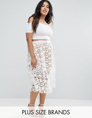 Missguided Plus Lace Detail Midi Skirt