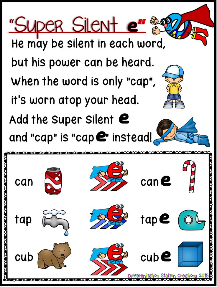 Super Silent E! Free anchor chart in color and black and white. Rhyme to help kids remember CVCe rule.