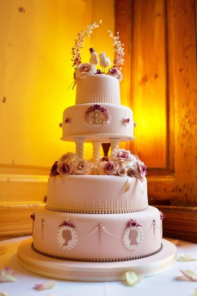 dusky pink vintage inspired wedding cake Photography Credit: Annamarie Stepney Photography