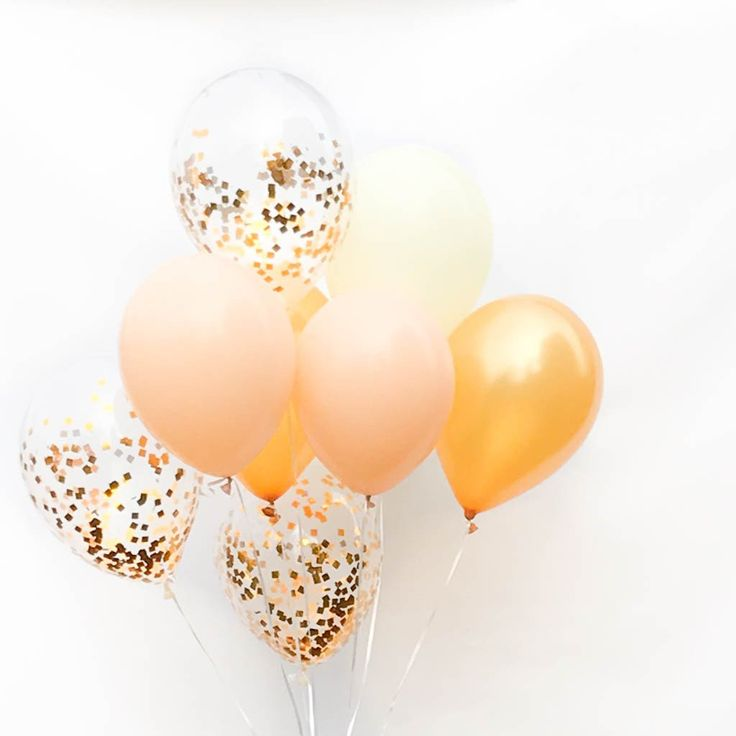 Our Bridal Shower Confetti Balloon Bouquet is a classy and festive party bouquet with a neutral color palette, great for a variety of celebrations. You will receive 9 balloons total, each described be