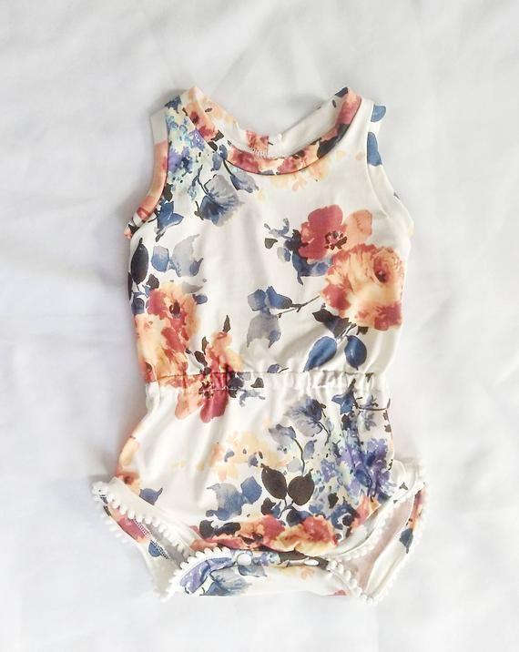 206bda4975f2 Baby Romper - Summer Romper - Toddler Romper - Floral Romper - Newborn  Romper