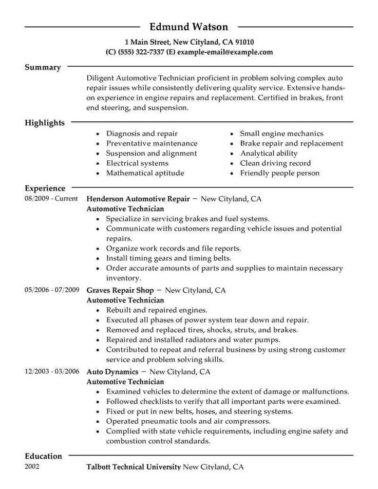 Resume Examples Mechanic , examples mechanic resume