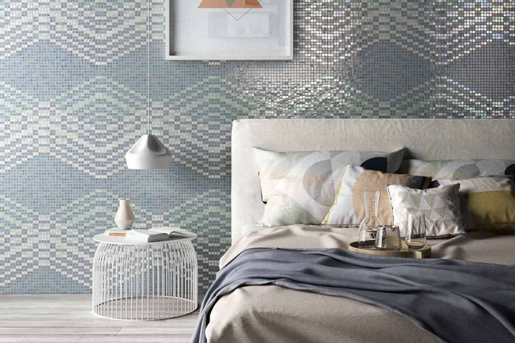 Mosaico+ Decor Collection - Mellow Smoke  #mosaicopiu #glassmosaic #glass #mosaic #mosaico #vetro #bedroom #letto #bed #cameradaletto #parete #wall #walldecor #decoration #interior #interiordesign #design #madeinitaly