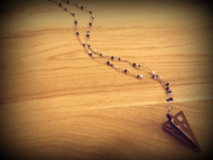 Handmade beaded rosary necklace with wooden pendant triangle 3D...