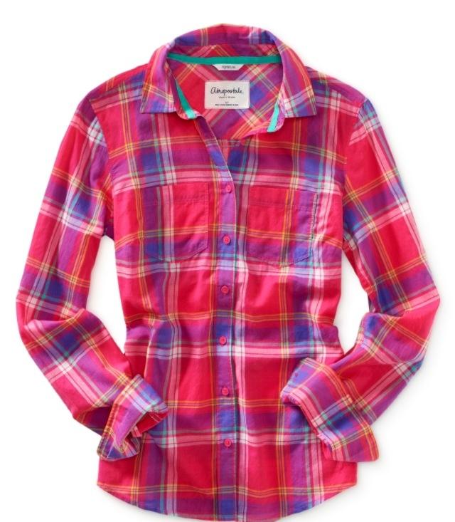 Aeropostale pink plaid shirt