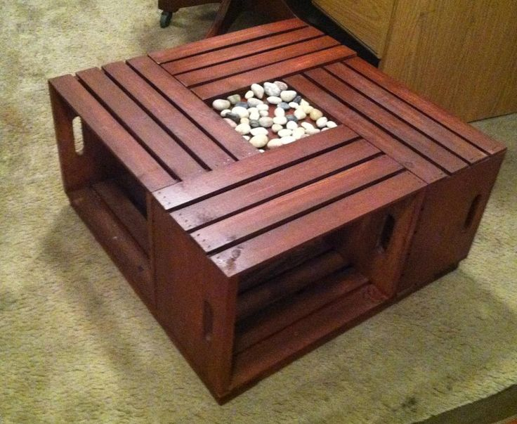 Hand crafted table using crates