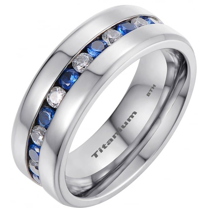 Mens Titanium Ring With Simulated Blue Sapphire Classic Wedding Engagement Band Ring