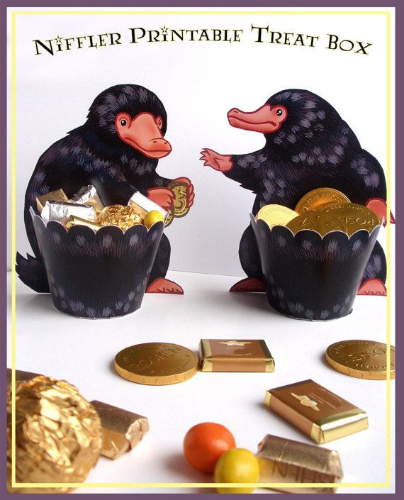 DIGITAL FILE YOU PRINT YOURSELF - NO PHYSICAL PRODUCT WILL BE SENT  This Niffler paper treat box printable is an INSTANT DOWNLOAD package - the files will be downloaded to your computer via Etsy within 10 minutes of cleared payment - and you can get started today!!  YOU WILL GET: There are 4 different figures of Niffler (watch the images) 2 PDF ready to print files - A4 300dpi quality PDFs including this :  1 PDF - 3 pages Big Niffler figure with basket: 13 cm / 5,1 inch tall basket radi...