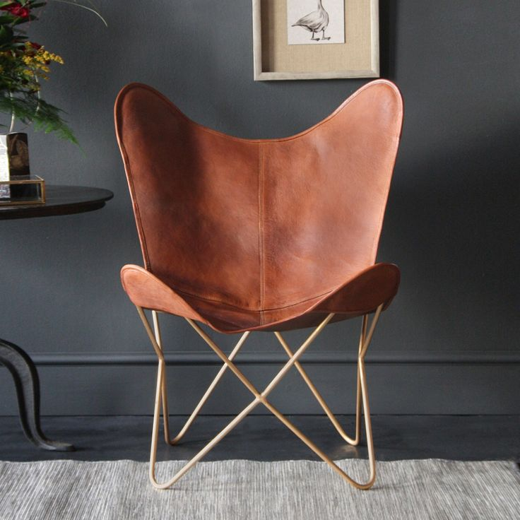 Butterfly accent chair genuine leather tan gold base in