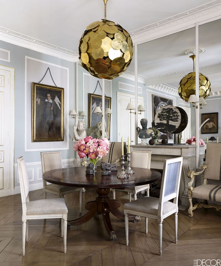 HOUSE TOUR: East Meets West In A Sophisticated Paris Pied À Terre. French Dining  RoomsElegant Dining RoomChandeliersModern ...