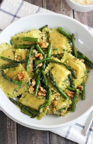 Ravioli with Sauteed Asparagus and Walnuts