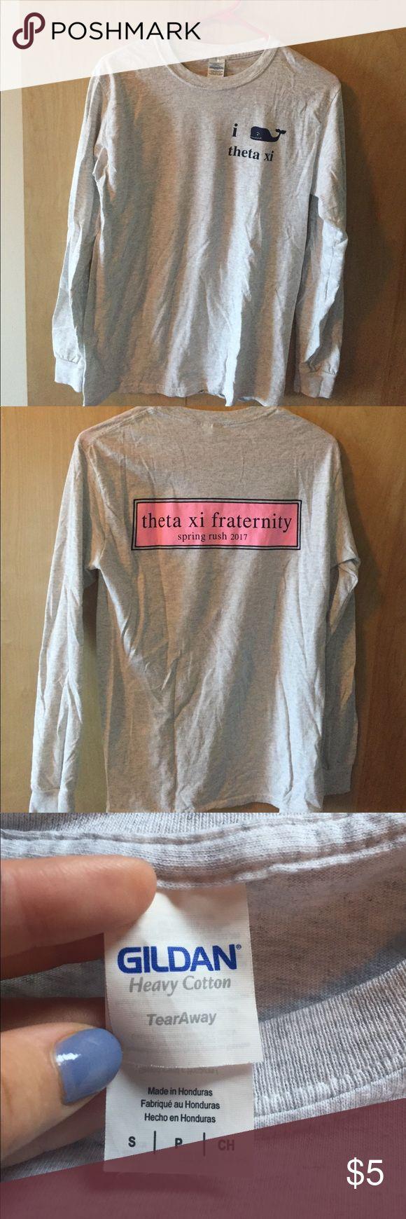 Vineyard vines Theta Xi fraternity shirt Long sleeve light grey Gildan size small shirt. Never worn. Theta Xi fraternity spring rush 2017. Gildan Tops Tees - Long Sleeve