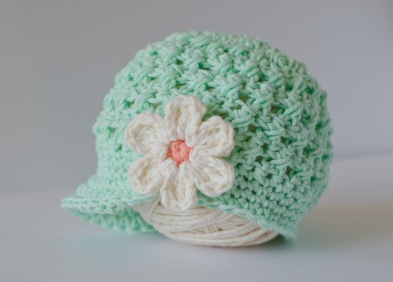 Baby Crochet Hat for Girls, Baby Girl Beanie Hat with flower, Mint Green and Peach Baby Hat, Baby Hat, Newborn Hat