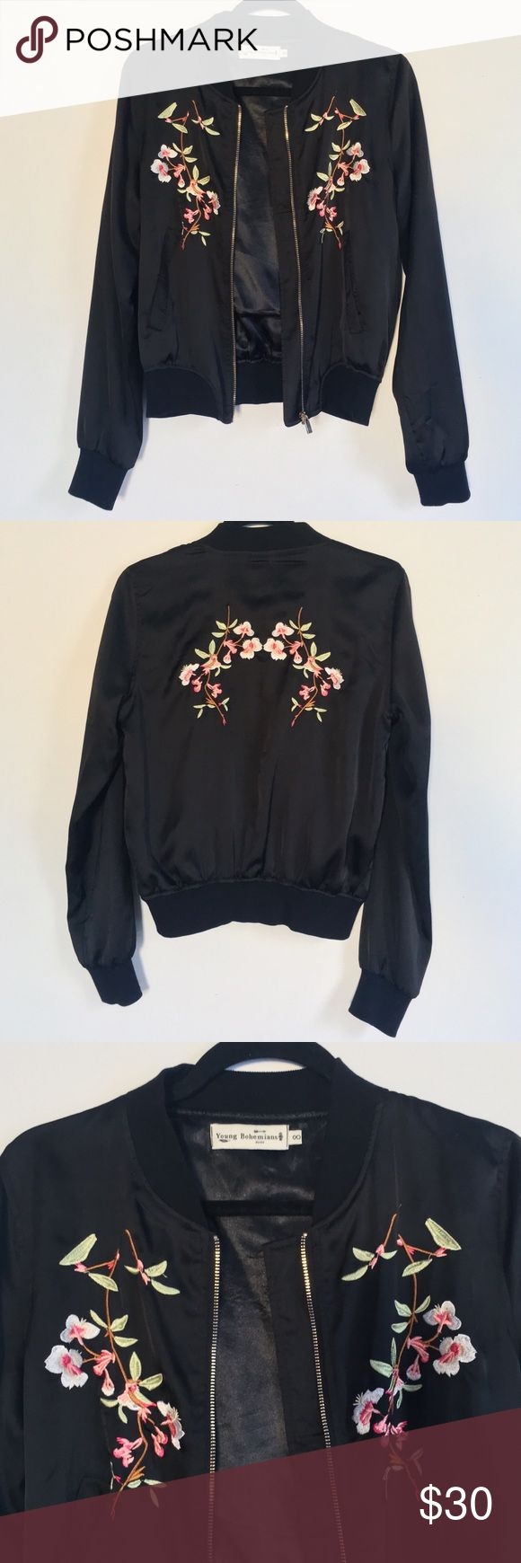 Bomber Jacket with Delicate Embroidery Young Bohemians Trophy Bomber Jacket with Delicate Embroidery in BLACK ASOS Jackets & Coats