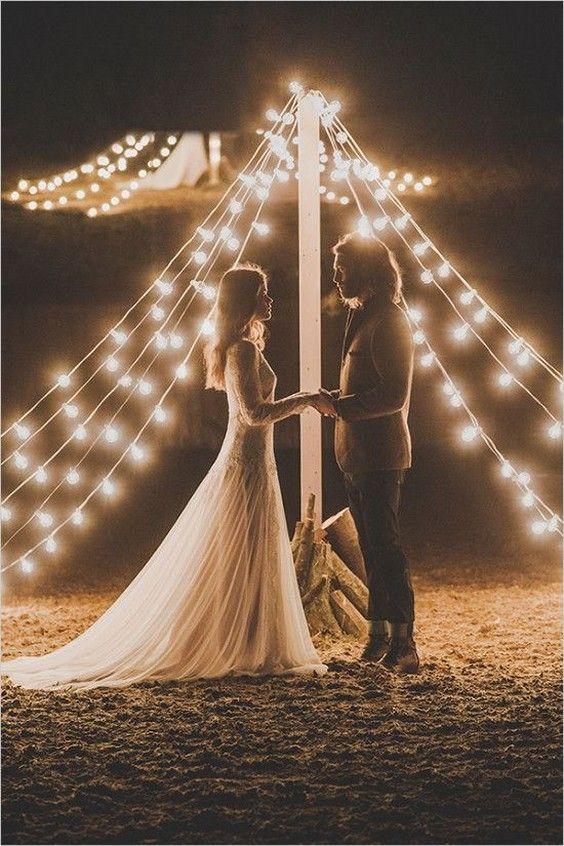 Gallery: teepee wedding ceremony with bistrolights - Deer Pearl Flowers