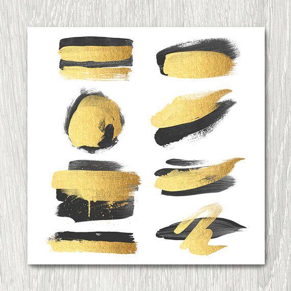 Gold Brush Strokes Clipart  black & gold metallic by ItGirlDigital