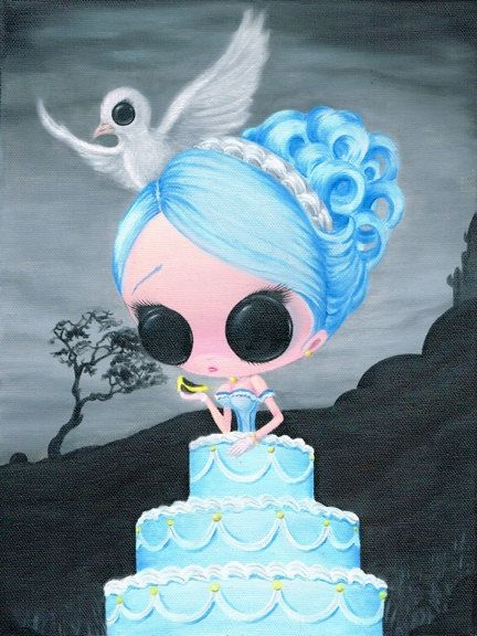 Lowbrow Sugar Fueled Cinderella Cake Dove Girl Glass Slipper creepy cute big eye art print