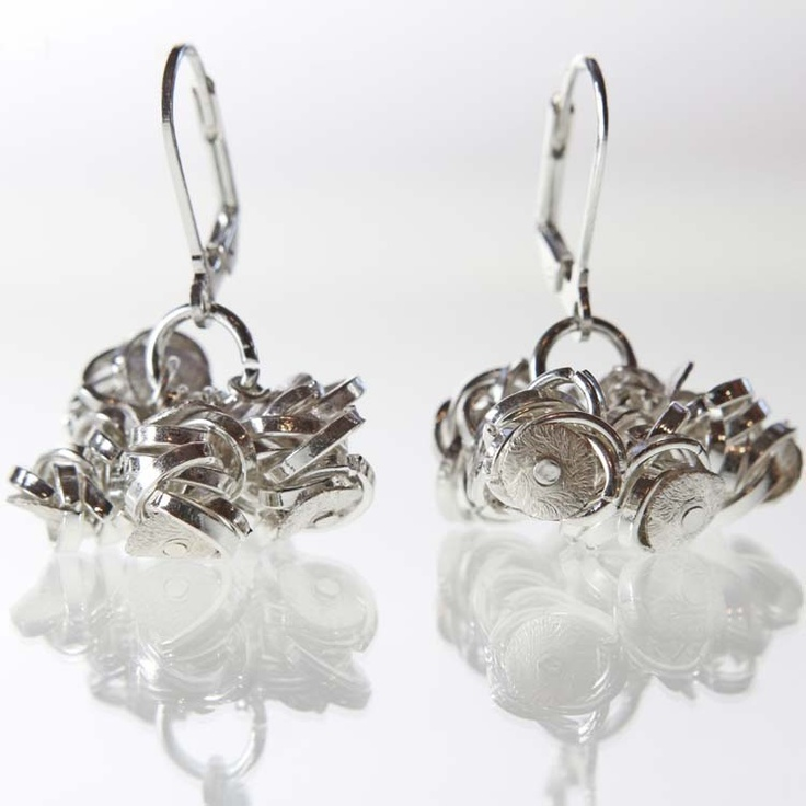 Small Silver Spiral Bouquet Earrings