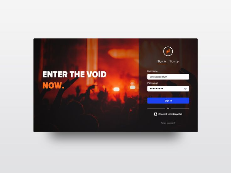 Login screen for party application  by Vladimir Vasiliev