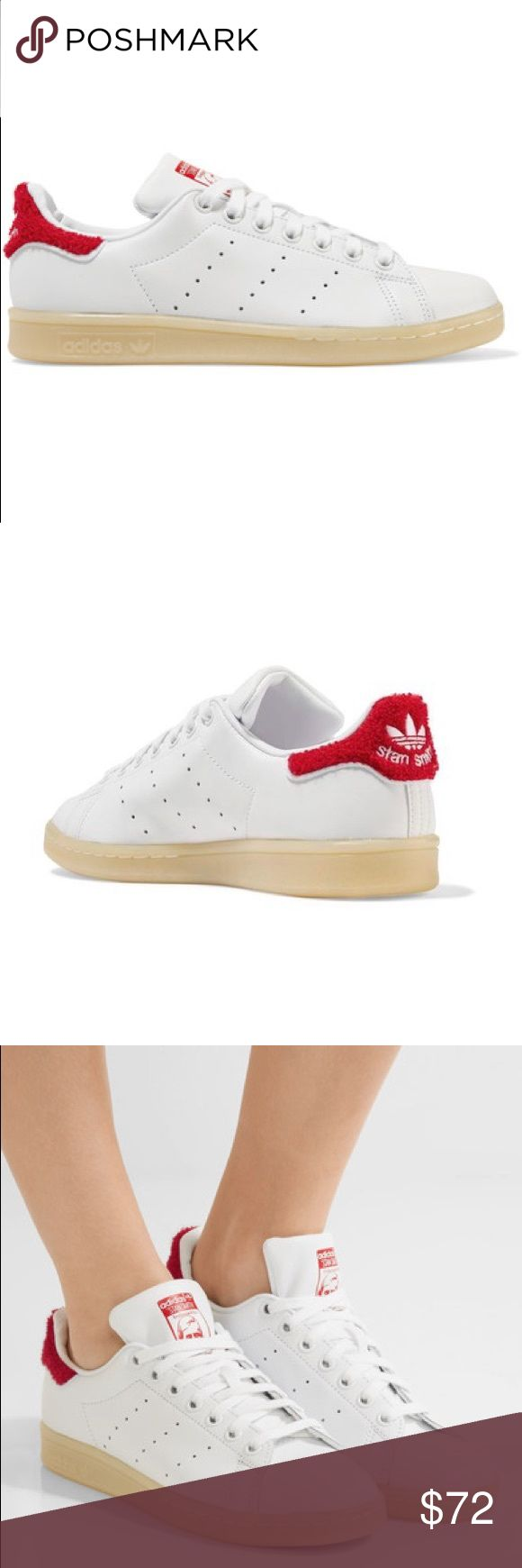 """Adidas Originals Stan Smith Leather Sneakers NIB. Adidas Originals Stan Smith Winter terry trimmed leather sneakers.   •Terry - trimmed heel tab finished with signature perforations and vulcanized rubber sole. •Sole measures approximately 1 inch. •White leather, red terry •Lace up front •Designer color: Collegiate Red  •Approximate heel to toe measurements : 10.5"""" adidas Shoes Sneakers"""