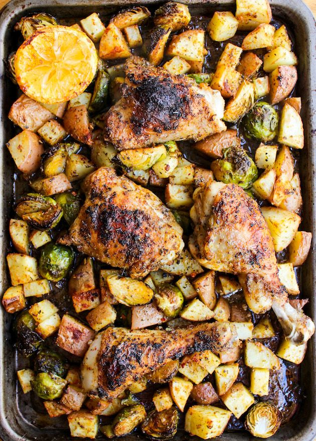 One pan chicken dinner with lemon, garlic, oregano & paprika seasoned potatoes and brussels sprouts | Grain Free + Whole 30