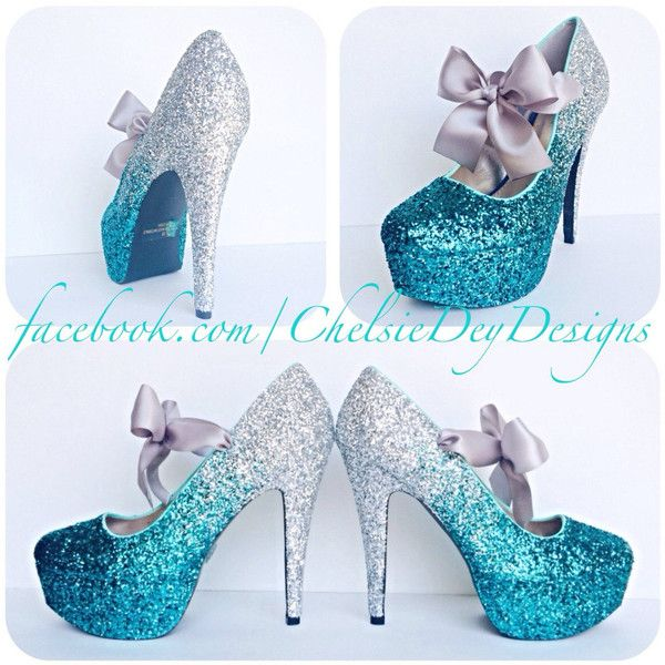Silver Teal Turquoise Blue Ombre Fade Glitter Pump High Heels with... ($105) ❤ liked on Polyvore featuring shoes, pumps, lilac shoes, glitter shoes, glitter high heel pumps, bow pumps and glitter pumps