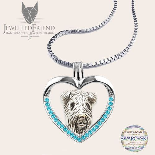 Check out Airedale terrier jewelry necklace pendant with swarovski crystal-sterling silver-Custom Dog Necklace - Pet Memorial Gift - Dog Mom Gift-Pet on jewelledfriend