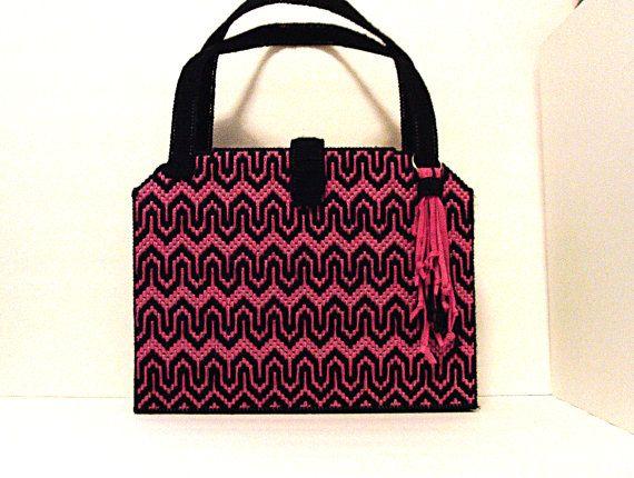 Pink and black women's large tote di ekimsmanmadehandbags su Etsy