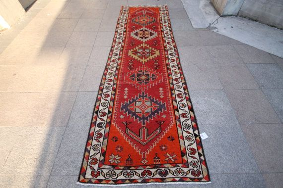 Turkish Vintage Runner Rug , Long Runner , Antique Runner Rug , Overdyed Runner , Handwoven Runner Rug 3'0''x9'8'' Feet 300x94 Cm