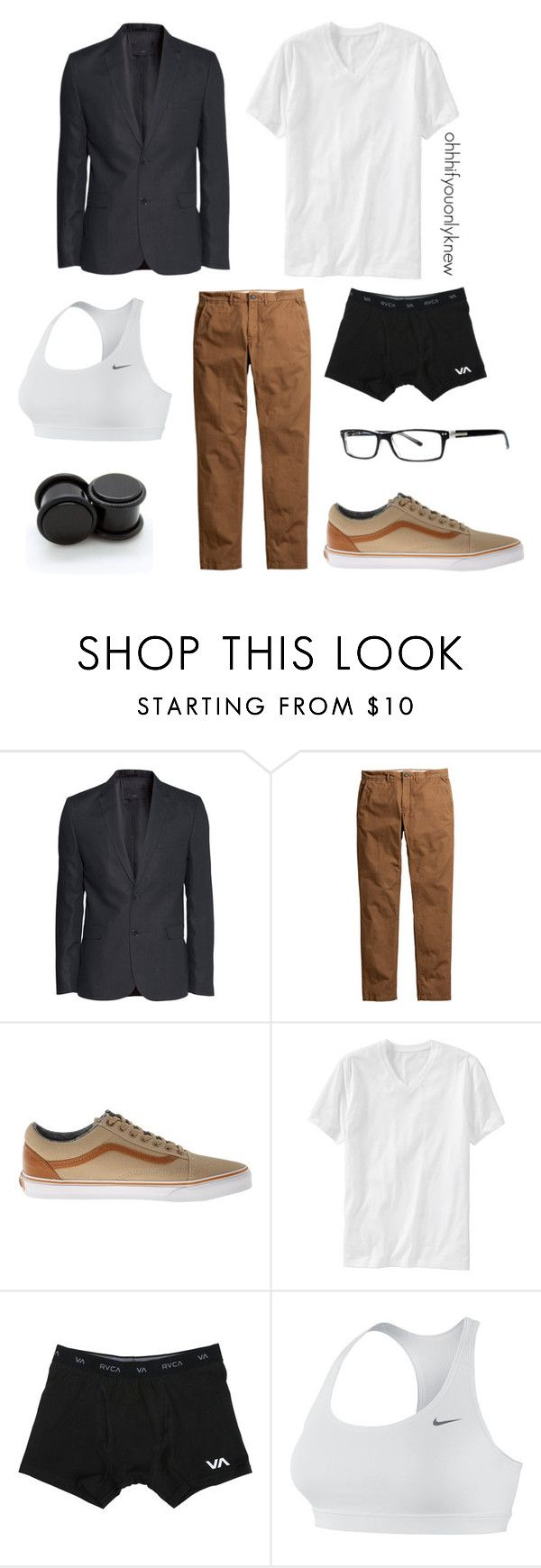 """""""Untitled #228"""" by ohhhifyouonlyknew ❤ liked on Polyvore featuring H&M, Vans, Old Navy, RVCA, NIKE, menswear, tomboy and androgynous"""