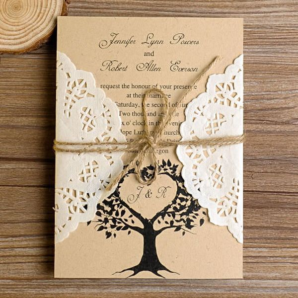Cheap Rustic Love Tree Lace Pocket Wedding Invitations