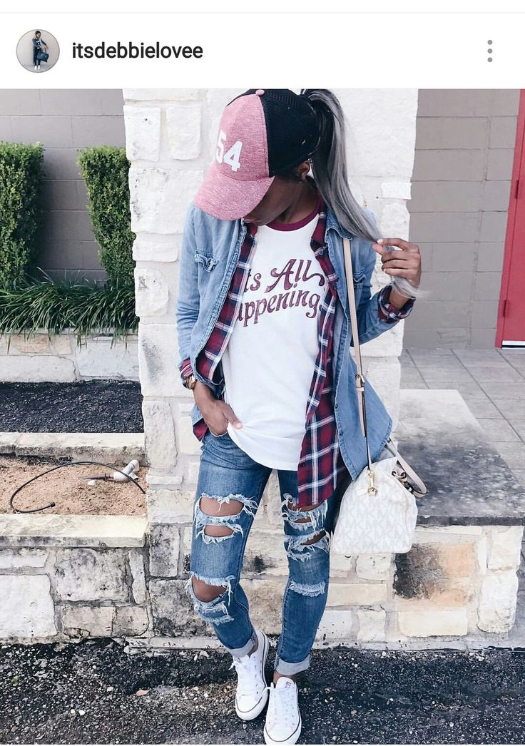 Jean shirt, plaid flannel, layering, casual outfit