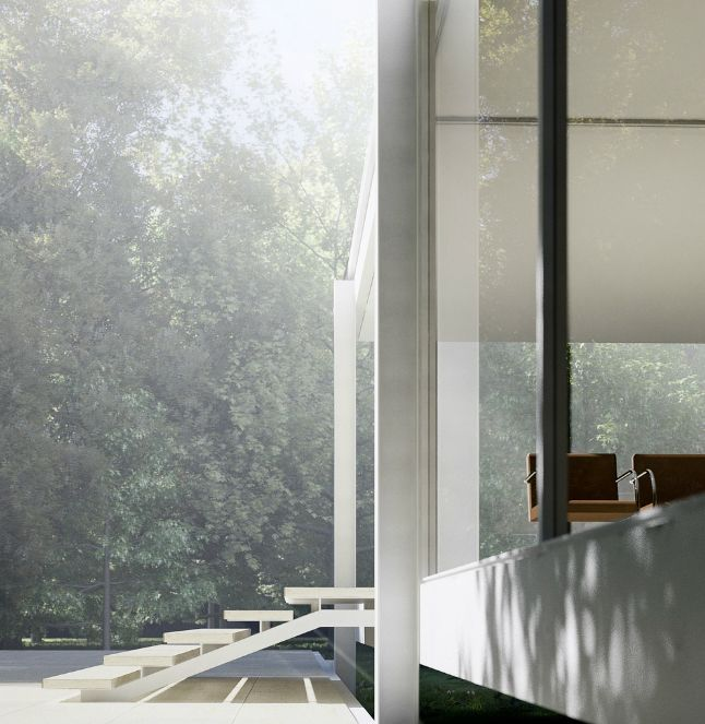 the farnsworth house by ludwig mies van der rohe designed. Black Bedroom Furniture Sets. Home Design Ideas