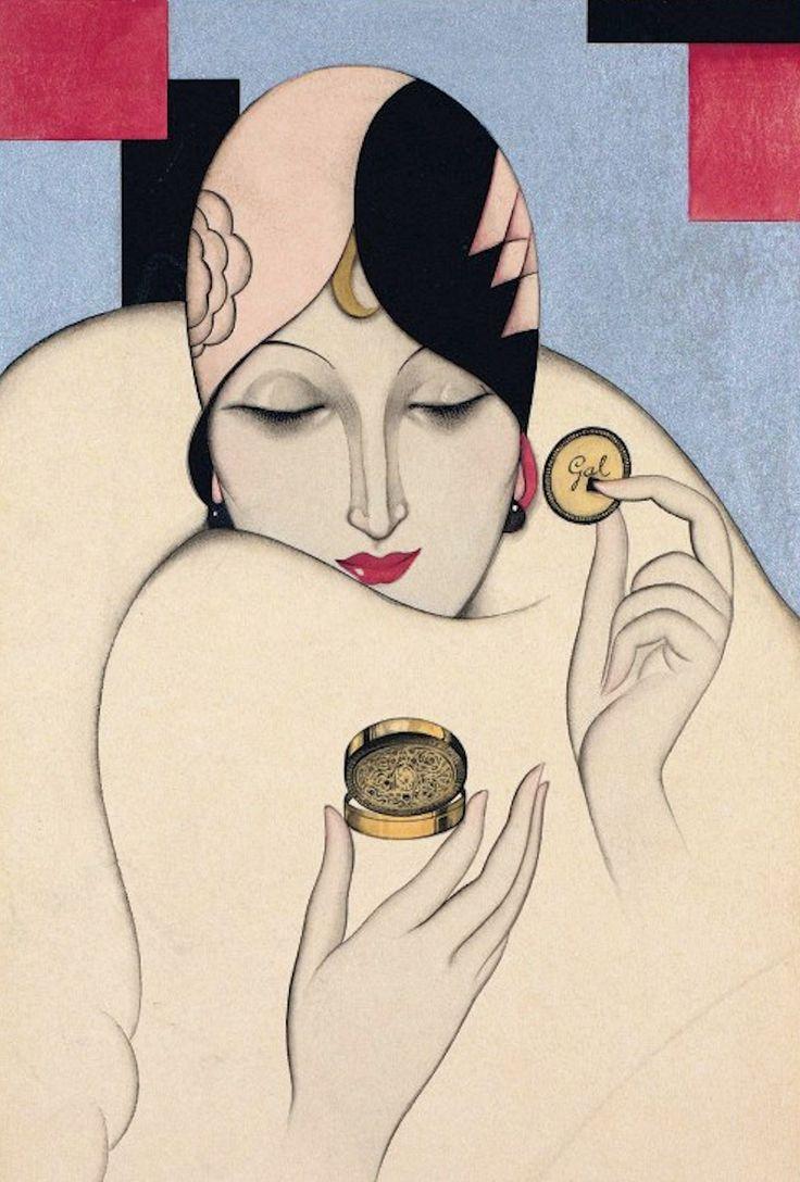 Federico Ribas, Art Deco illustration for Perfumería Gal Madrid, 1920s.