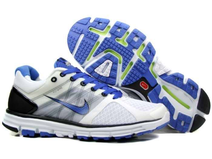 Nike White Blue Lunarglide 2 Shoes